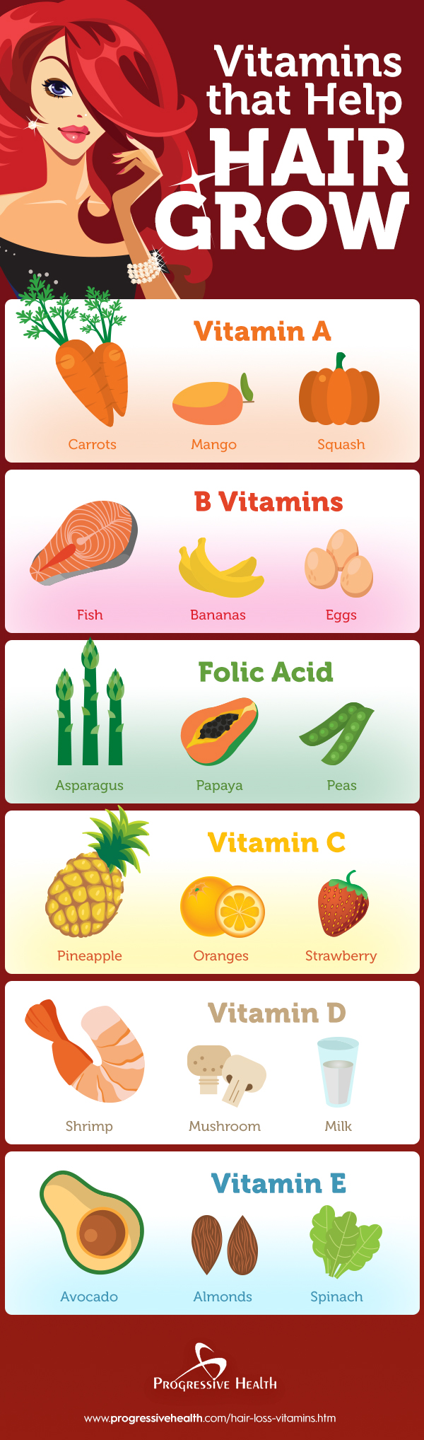 Infographic for Vitamins that help with hair growth
